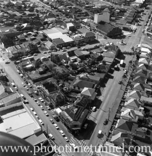 Aerial view of The Junction, Newcastle, NSW, after a RAAF Sabre jet fighter crash on August 17, 1966. (16)