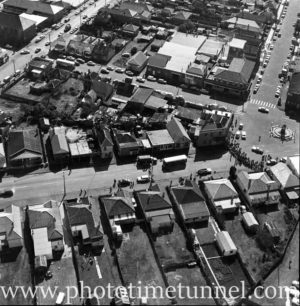 Aerial view of The Junction, Newcastle, NSW, after a RAAF Sabre jet fighter crash on August 17, 1966. (17)