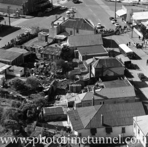 Aerial view of The Junction, Newcastle, NSW, after a RAAF Sabre jet fighter crash on August 17, 1966. (18)