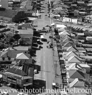 Aerial view of The Junction, Newcastle, NSW, after a RAAF Sabre jet fighter crash on August 17, 1966. (19)