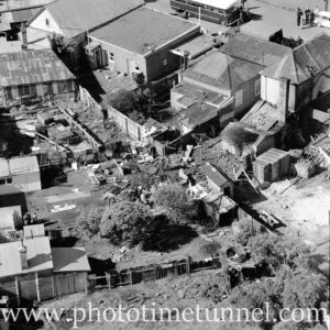 Aerial view of The Junction, Newcastle, NSW, after a RAAF Sabre jet fighter crash on August 17, 1966. (20)