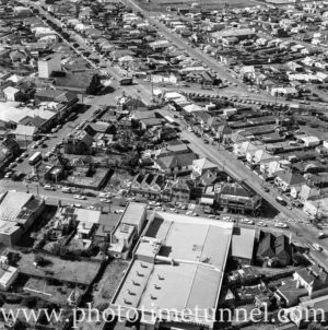 Aerial view of The Junction, Newcastle, NSW, after a RAAF Sabre jet fighter crash on August 17, 1966. (22)