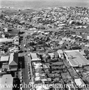 Aerial view of The Junction, Newcastle, NSW, after a RAAF Sabre jet fighter crash on August 17, 1966. (23)