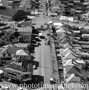 Aerial view of The Junction, Newcastle, NSW, after a RAAF Sabre jet fighter crash on August 17, 1966. (26)