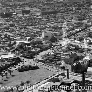 Aerial view of The Junction, Newcastle, NSW, after a RAAF Sabre jet fighter crash on August 17, 1966. (28)