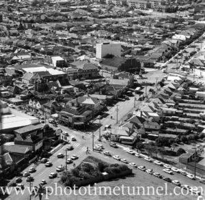 Aerial view of The Junction, Newcastle, NSW, after a RAAF Sabre jet fighter crash on August 17, 1966. (31)
