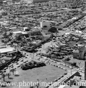 Aerial view of The Junction, Newcastle, NSW, after a RAAF Sabre jet fighter crash on August 17, 1966. (32)