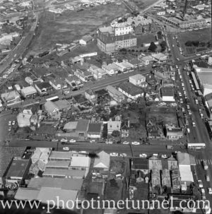 Aerial view of The Junction, Newcastle, NSW, after a RAAF Sabre jet fighter crash on August 17, 1966. (33)
