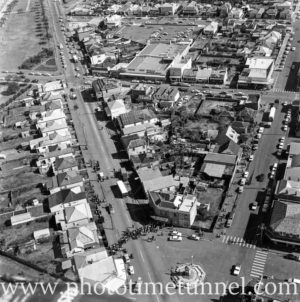 Aerial view of The Junction, Newcastle, NSW, after a RAAF Sabre jet fighter crash on August 17, 1966. (34)