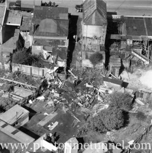 Aerial view of The Junction, Newcastle, NSW, after a RAAF Sabre jet fighter crash on August 17, 1966. (35)