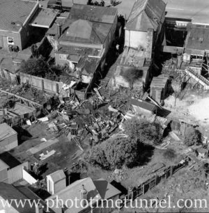 Aerial view of The Junction, Newcastle, NSW, after a RAAF Sabre jet fighter crash on August 17, 1966. (36)
