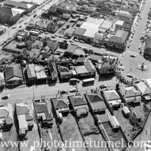 Aerial view of The Junction, Newcastle, NSW, after a RAAF Sabre jet fighter crash on August 17, 1966. (37)
