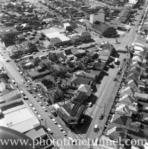 Aerial view of The Junction, Newcastle, NSW, after a RAAF Sabre jet fighter crash on August 17, 1966. (38)