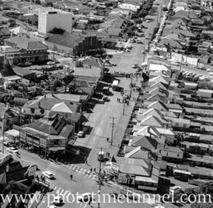 Aerial view of The Junction, Newcastle, NSW, after a RAAF Sabre jet fighter crash on August 17, 1966. (4)