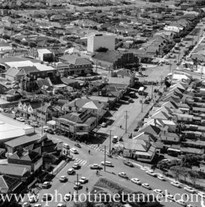 Aerial view of The Junction, Newcastle, NSW, after a RAAF Sabre jet fighter crash on August 17, 1966. (41)