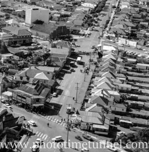 Aerial view of The Junction, Newcastle, NSW, after a RAAF Sabre jet fighter crash on August 17, 1966. (42)
