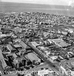 Aerial view of The Junction, Newcastle, NSW, after a RAAF Sabre jet fighter crash on August 17, 1966. (6)