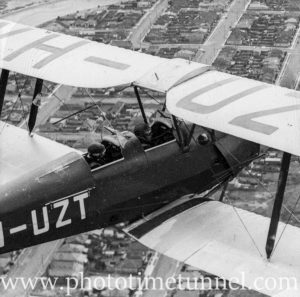 Tiger Moth aircraft over Newcastle, NSW, circa 1940s. (2)