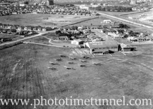Aerial view of Newcastle Aero Club, Broadmeadow, Newcastle, NSW. Image by Milton Merrilees.