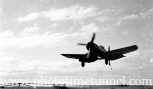 Vought Corsair landing on carrier HMS Glory off Newcastle, NSW, 1946. (2)
