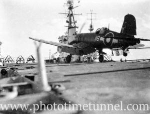 Vought Corsair aircraft aboard carrier HMS Glory off Newcastle, NSW, 1946. (2)