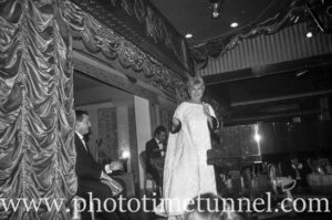 American cabaret singer Frances Faye at Chequers nightclub, Sydney, April 8, 1965. (1)