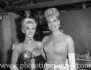 Canadian singer Gale Sherwood, at right, at Chequers nightclub, Sydney, November 1964.