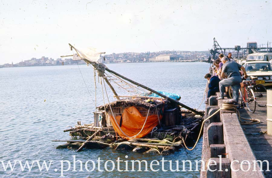 Balsa raft visits Newcastle, 1973
