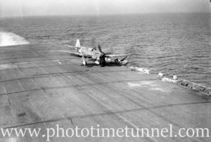 Fairey Firefly aircraft landing on carrier HMS Glory off Newcastle, NSW, 1946. (2)