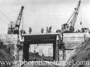 Construction of rail overbridge at Lapstone, NSW, July 5, 1957.