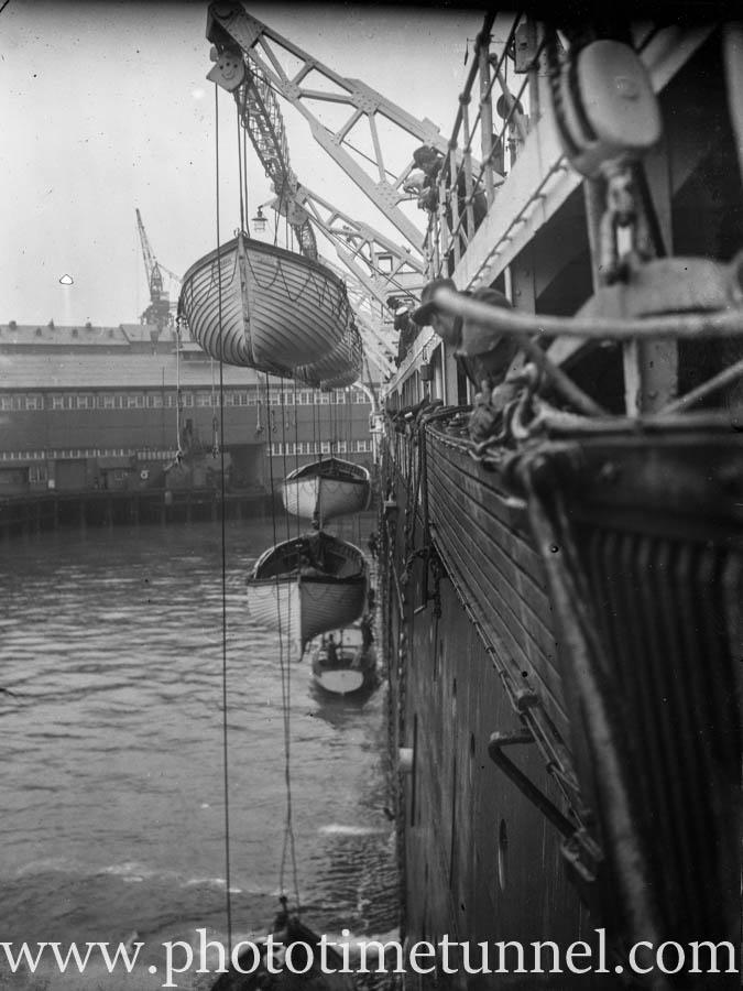 Lifeboat drill on a passenger ship on Colombo Harbour, Ceylon (Sri Lanka), circa 1930s. (2)
