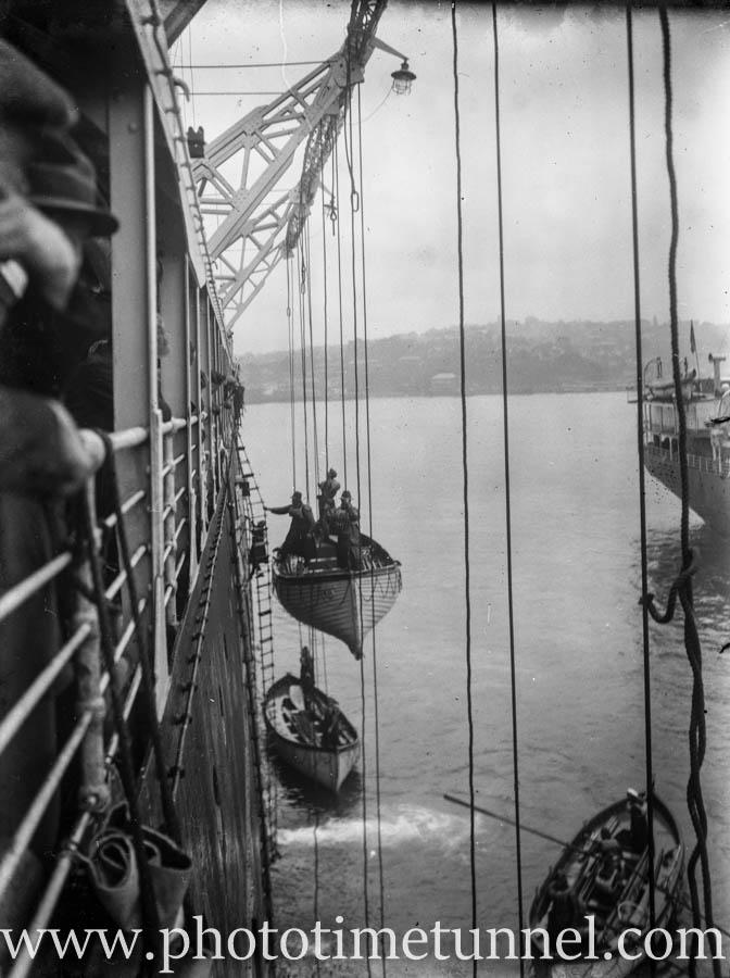 Lifeboat drill on a passenger ship on Colombo Harbour, Ceylon (Sri Lanka), circa 1930s. (3)
