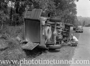 A rolled-over Dodge truck after an accident in the Newcastle area.