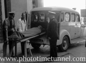 Ambulance and patient at Newcastle Hospital, October 19, 1945. (19)