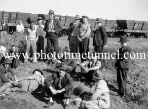 Miners meet over a stay-in strike at Teralba, NSW, April 9, 1943. (3)