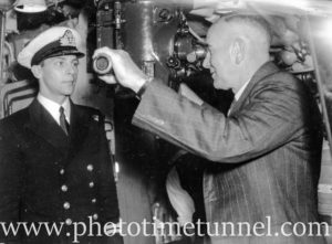 Newcastle Mayor R. Norris inspecting the British submarine HMS Virtue, in Newcastle Harbour, NSW, September 10, 1945. (3)