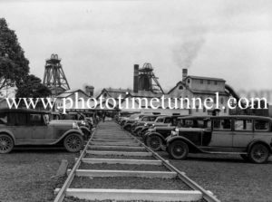 Cars parked at John Darling colliery, Belmont, NSW, August 7, 1945.