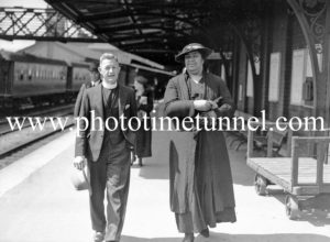 Queen Salote of Tonga in Newcastle on September 16, 1936. Accompanied by Methodist minister Rev Frank Rayward, at Newcastle Railway Station.