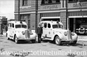 New ambulances on display at Hamilton ambulance station, Newcastle, NSW, September 24, 1936. (1)