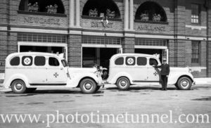 New ambulances on display at Hamilton ambulance station, Newcastle, NSW, September 24, 1936. (2)
