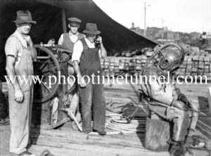 Diver at Kings Wharf, Newcastle, May 1947. Possibly in connection with the sinking of the steamer Boambee. (1)