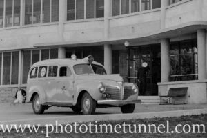 Ambulance at the opening of Rankin Park Hospital, Newcastle, NSW, June 12, 1947. (1)
