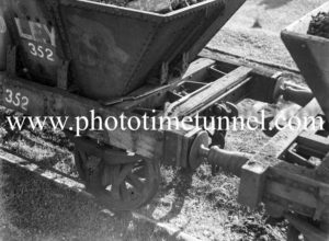 Pair of guns on coal wagons at Cardiff, Newcastle, NSW, September 28, 1938.