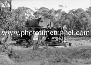 Old car modified as a winding engine for a coalmine near Cardiff, NSW, September 28, 1938.