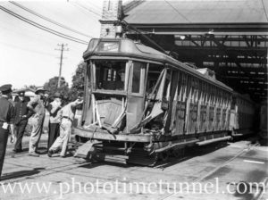 Damaged tram after accident in Newcastle, April 24, 1947. (2)