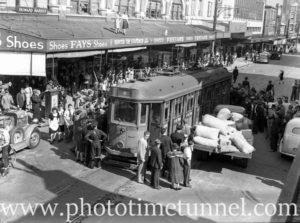 Collision between a tram and a bus in Hunter Street, Newcastle, April 1945.