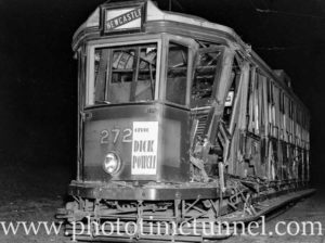 Damaged tram after an accident on Hannell Street Wickham (Newcastle, NSW) on March 4, 1936.
