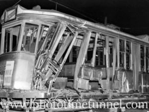 Damaged tram after an accident on Hannell Street Wickham (Newcastle, NSW) on March 4, 1936. (2)