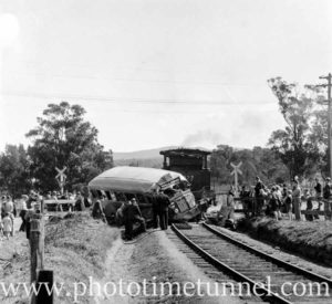 Collision between a bus and a train at Toronto, Lake Macquarie, August 17, 1944.