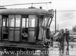 Damaged tram after collision in Newcastle, NSW, on October 1, 1941. (3)